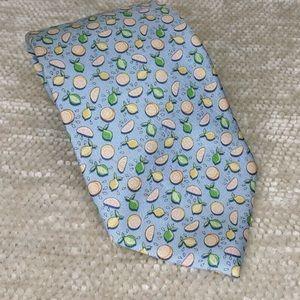 Vineyard Vines Light Blue Lemon Limes Silk Tie
